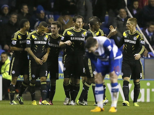 Chelsea players congratulate Juan Mata, after he scored against Reading on January 30, 2013