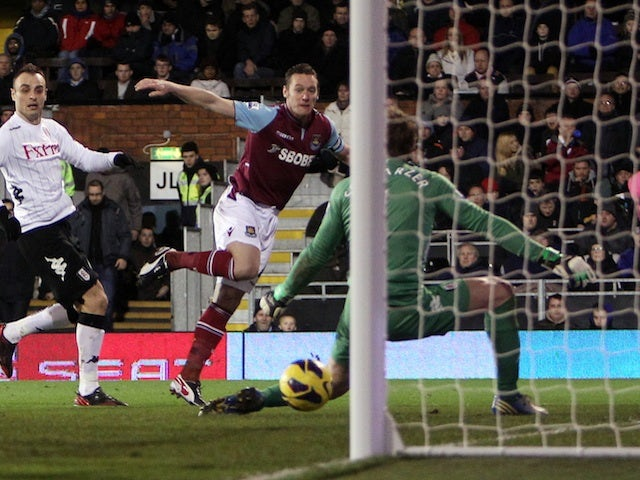 West Ham's Kevin Nolan smashes in a goal against Fulham on January 30, 2013