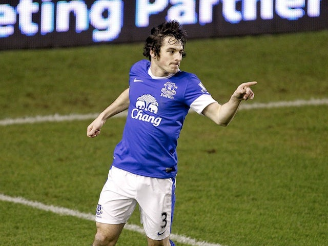 Everton's Leighton Baines celebrates a goal against West Brom on January 30, 2013