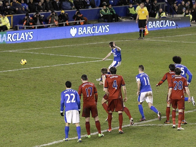 Everton defender Leighton Baines scores his second, from the penalty spot, against West Brom on January 30, 2013