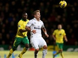 New Spurs signing Lewis Holtby in action against Norwich on January 30, 2013