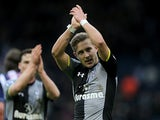 Lewis Holtby at the final whistle applauds fans after his team secure a win against West Brom on February 3, 2013