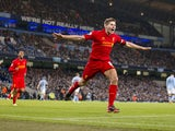 Liverpool captain Steven Gerrard celebrates after scoring his side's second goal against Manchester City on February 3, 2013