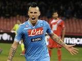 Napoli's Marek Hamsik celebrates a goal against Catania on February 2, 2013