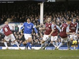 Everton midfielder Marouane Fellaini pulls a goal back against Aston Villa on February 2, 2013