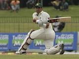 Pakistan batsman Misbah Ul-Haq plays a shot during his team's match against Sri Lanka on July 1, 2012