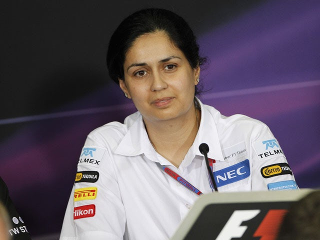 Sauber team representative Monisha Kaltenborn answers questions at a press conference on March 23, 2012