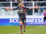 Bologna's Panagiotis Kone celebrates after scoring his team's third against Pescara on February 3, 2013