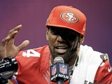 49ers' WR Randy Moss takes questions during Media Day on January 29, 2013