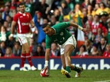 Ireland's Simon Zebo scoring his side's first try during the RBS 6 Nations match against Wales on February 2, 2013