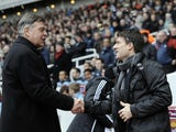 Opposing bosses Sam Allardyce and Michael Laudrup shake hands before the game between West Ham and Swansea on February 2, 2013