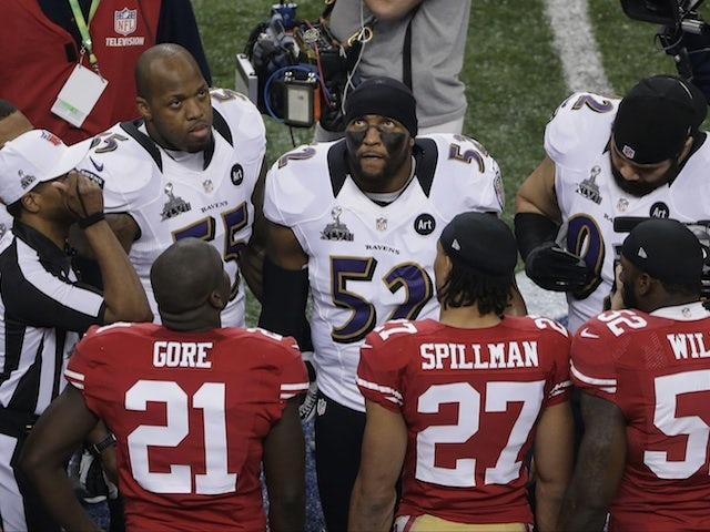 The coin toss before the Superbowl on February 3, 2013