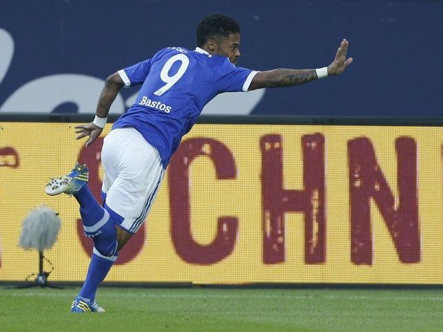 Schalke's Michel Bastos celebrates scoring against Greuther Fuerth on February 2, 2013