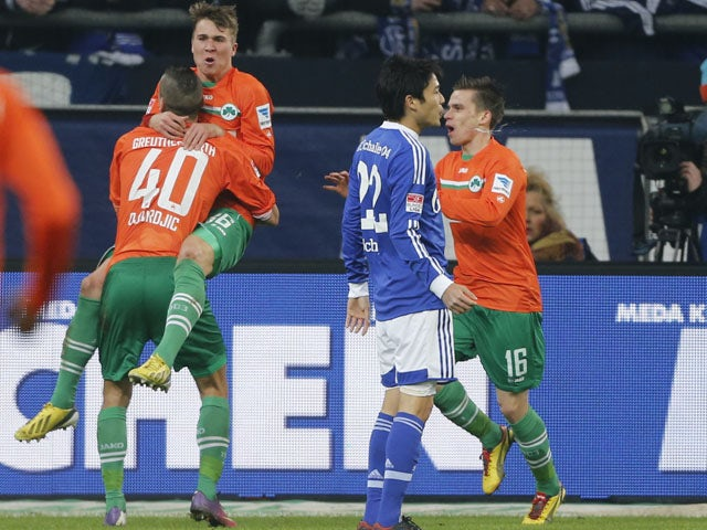 Nikola Durdic of Greuther Fuerth celebrates scoring against Schalke on February 2, 2013