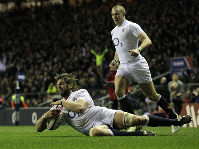 England player Geoff Parling scores a try against Scotland on February 2, 2013