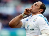 Italy's Sergio Parisse celebrates scoring during the Six Nations against France on February 3, 2013