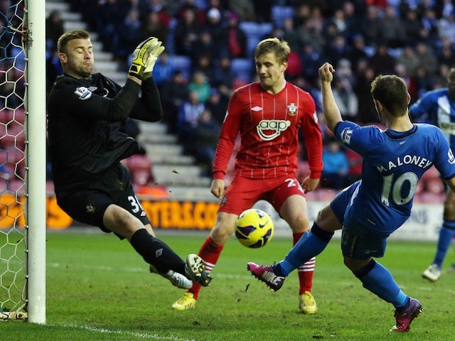 Wigan's Shaun Maloney scores a late equaliser against Southampton on February 2, 2013