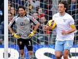 Lazio's Stefano Mauri with the ball celebrates scoring his team's second against Genoa on February 3, 2013