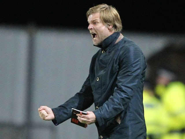 Falkirk boss Steven Pressley on the touchline during a game with Rangers on September 21, 2011