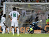 Nigeria's Victor Moses dispatches a penalty against Ethiopia on January 29, 2013