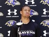 Baltimore Ravens cornerback Asa Jackson talks at a press conference on May 13, 2012