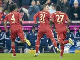 Bayern Munich player Bastian Schweinsteiger celebrates after scoring in his side's match against Schalke on February 9, 2013