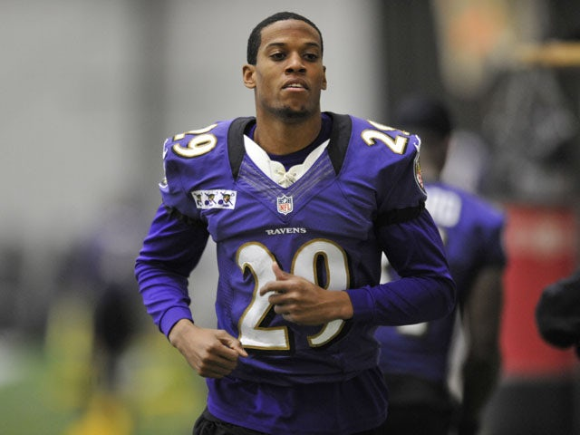 Baltimore Ravens cornerback Cary Williams warms up during practice on January 26, 2013