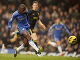 Chelsea's Nascimento Ramires scores his side's first goal in their match with Wigan on February 9, 2013