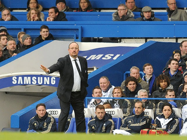 Chelsea interim manager Rafael Benitez during his side's match with Wigan on February 9, 2013