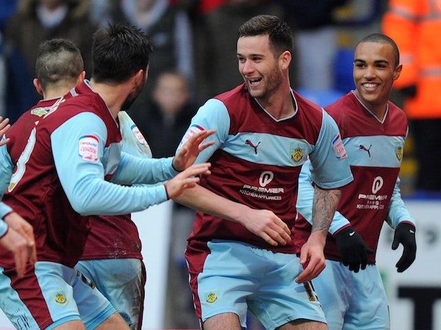 Burnley's David Edgar celebrates a goal against Bolton on February 9, 2013