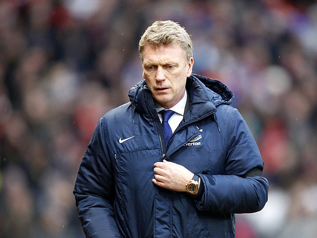 Everton boss David Moyes prior to kick-off against Manchester United on February 10, 2013