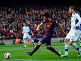 Barcelona's David Villa scores his team's third against Getafe on February 10, 2013