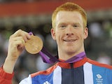 Great Britain's Ed Clancy celebrates with his Bronze medal on August 5th, 2012
