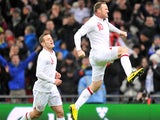 England's Wayne Rooney celebrates after scoring against Brazil on February 6, 2013