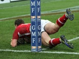 George North scores a try for Wales in their match with France on February 9, 2013