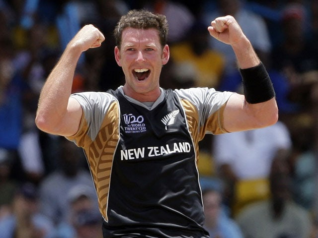 New Zealand bowler Ian Butler celebrates after taking a wicket on May 8, 2010