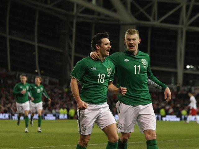 Wes Hoolahan celebrates after scoring for the Republic of Ireland against Poland on February 6, 2013