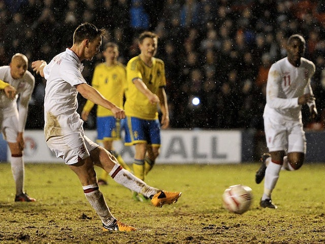 England under 21s' Josh McEachran misses a penalty against Sweden on February 5, 2013