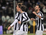 Alessandro Matri celebrates with teammates after scoring Juventus' second goal in their match against Fiorentina on February 9, 2013