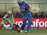 Keiron Pollard plays a shot for the Mumbai Indians on May 14, 2012