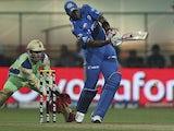 Keiron Pollard plays a shot for the Mumbai Indians on May 14, 2012