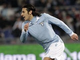 Lazio forward Sergio Floccari celebrates after scoring against Napoli on February 9, 2013