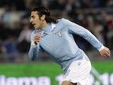 Lazio forward Sergio Floccari celebrates after scoring against Napoli on February 9, 2013