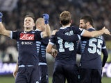 Napoli players celebrate scoring a late equalising goal in their match with Lazio on February 9, 2013