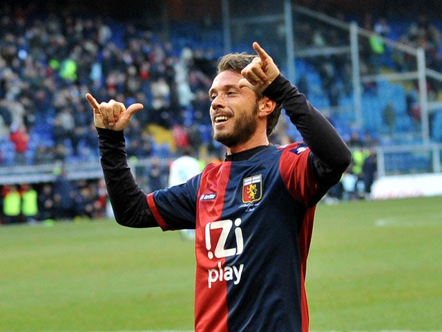 Genoa's Marco Rigoni celebrates after scoring against Lazio on February 3, 2013