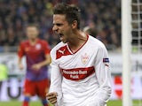 Stuttgart's Martin Harnik celebrates after scoring for his side against Steaua Bucharest on November 22, 2012