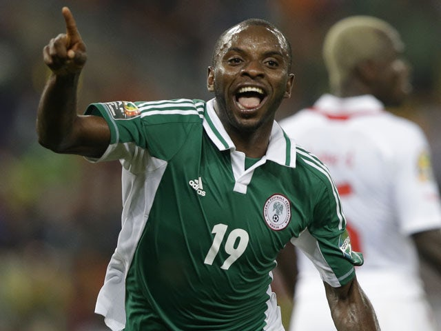 Nigeria's Sunday Mba celebrates after scoring against Burkina Faso in the African Cup of Nations final on February 10, 2013