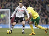 Fulham's Dimitar Berbatov on the ball during his side's match with Norwich on  February 9, 2013