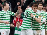 Celtic players congratulate Rami Gershon after a goal against Inverness on February 9, 2013