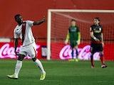 Rayo Vallecano's Lass Bangoura celebrates scoring against Atletico Madrid on February 10, 2013